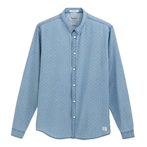 Pepe Jeans Uomo Camicia A Maniche Lunghe Caufield Taglia 6 Blu