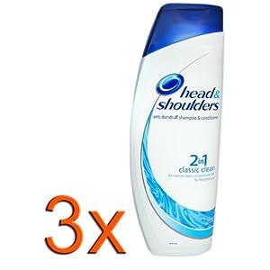 3x Head & Shoulders Classic Clean 2in1 Anti- Schuppen Shampoo+ Pflegespülung/ Conditioner, je 400ml/ Für normales Haar/ Für häufige Haarwäsche