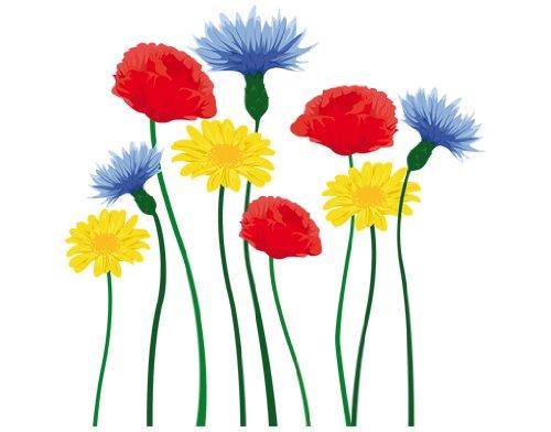 Wandtattoo Blumen bunt