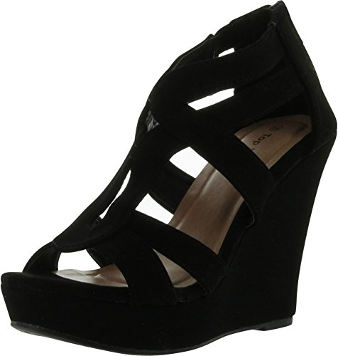 Women's Strappy Open Toe Platform Wedge,8 B(M) US,Black-