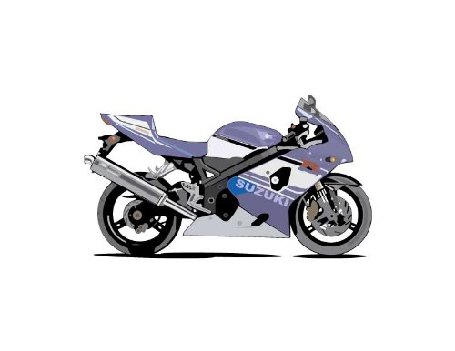 Vehicle Wall Decals - Purple Suzuki Motorcycle - 48 Inch Removable Graphic front-1054411