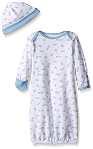 Little Me Baby Toy Time Gown with Hat, Blue/White, 0-3 Months Gown Hat