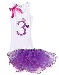 Girls Birthday Party #3 Purple Tutu White Tank Top Set By Bubblegum Divas