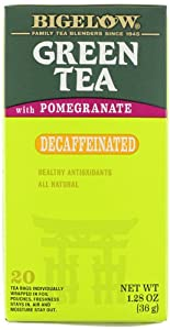 Bigelow Tea Green Tea with Pomegranate Decaf, 1.28-Ounce Boxes (Pack of 6)