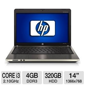 HP ProBook 4430s XU013UT Notebook PC - Intel Insides i3-2310M 2.10GHz, 4GB DDR3, 320GB HDD, DVDRW, 14 Air, Windows 7 Professional 64-bit (Refurbished)