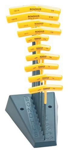 Bondhus 13190 Set of 10 Balldriver and Hex T-handles with Stand, sizes 3/32-3/8-Inch (Color: yellow, Tamaño: 1-(Pack))