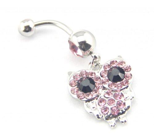 Baqi Jeweled Owl Pink Gems Crystals Big Black Eyes Dangle Girls Belly Navel Bar Ring 14G Pink
