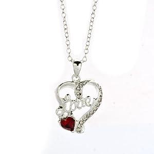 Pugster Silver Tone Clear White Birthstone Heart Love Light Red Swarovski Element Crystal Pendant Neck 18'