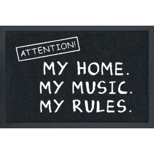 for-collectors-only - Zerbino con motivo: Attention!, My Home My Music My Rules!