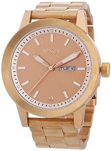 Nixon A263897-00 - Reloj analógico de cuarzo unisex con correa de acero inoxidable, color dorado