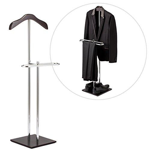 Brown Wood Metal Suit Valet Floor Stand Garment Organizer Rack