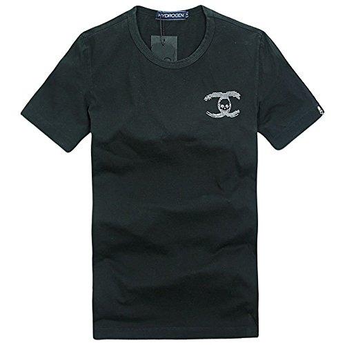 (ハイドロゲン)HYDROGEN Tシャツ メンズ おしゃれ 半袖 ブランド カラー ドクロ スカル カジュアル メンズTシャツ 【17743】 (L, ブラック) [並行輸入品]