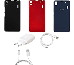 NIROSHA Cover Case Charger USB Cable for Lenovo K3 Note - Combo