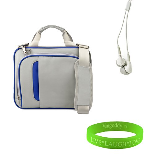 Titanium Silver With Navy Blue 13 Inch Messenger Bag For Your Asus Ul30 Ul30Jt Ultrabook Bag Is Shock Absorbent, Fully Padded Exterior And Interior + Vangoddy Live Laugh Love Bracelet + Universal Earbuds.