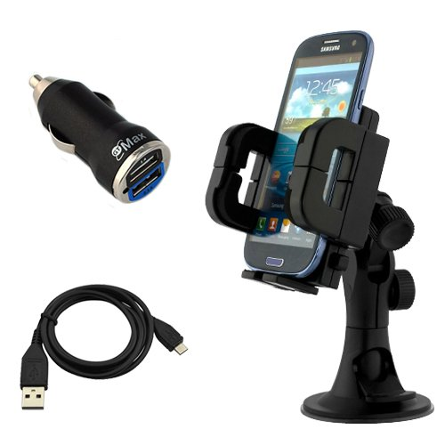 iKross 3in1 Car Vehicle Windshield / Dashboard / Air Vent Mount Holder + 2-Port USB Car Charger + MicroUSB Data Cable for Samsung Galaxy Note 2 II N7100, GALAXY Note SGH-T879, Galaxy S III S3