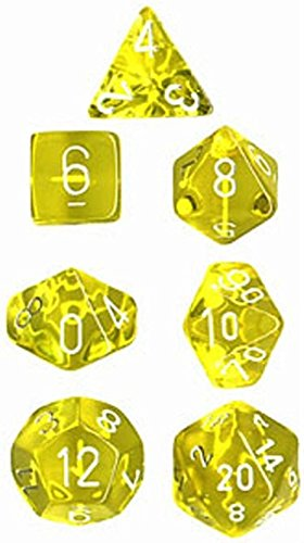 Chessex Manufacturing 23002 7-Die Polyhedral Set Yellow With White Translucent - 1