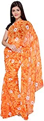 S R Couture Women's Georgette Saree with Blouse Piece (Orange)