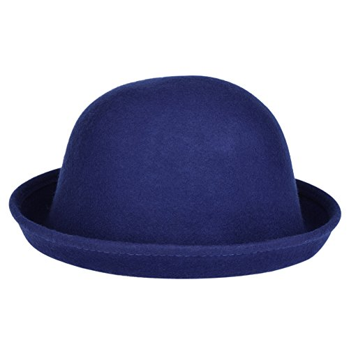 Vbiger Women Woolen Roll-up Brim Fedora Bowler Hat (Royal Blue) (Bowler Hat Blue compare prices)