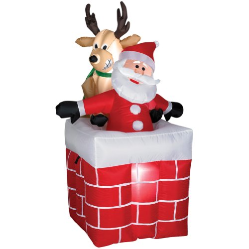 4Ft Airblown Reindeer Pulling Santa From Chimney front-523125