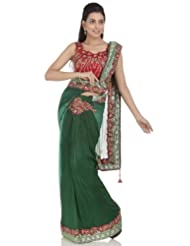 Chhabra555 Green Net One Minute Saree - B00J4RP5NM