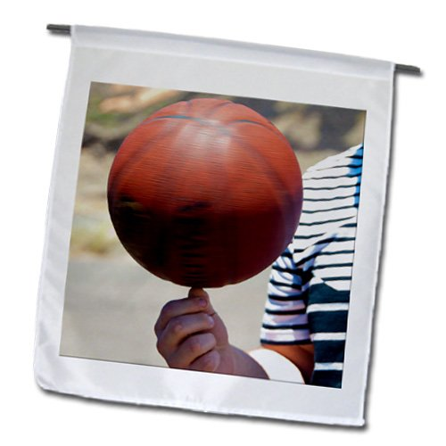 fl_56501_1 Jos Fauxtographee Realistic - A Man Holding a Basketball While Spinning it on His Thumb - Flags - 12 x 18 inch Garden Flag