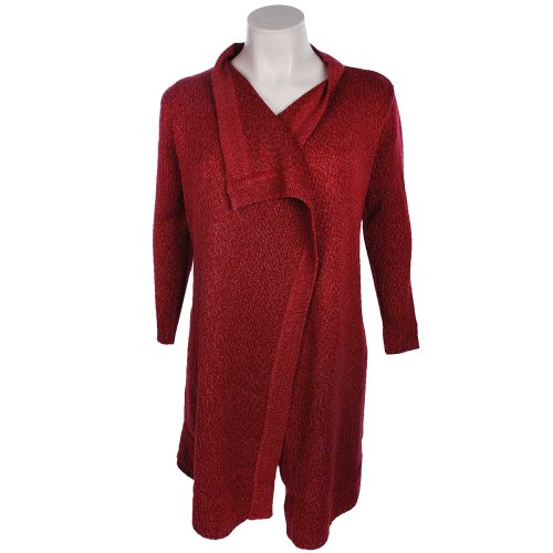 Tommy & Kate Boutique Ladies Berry Twist Yarn Waterfall Cardigan in Size 12