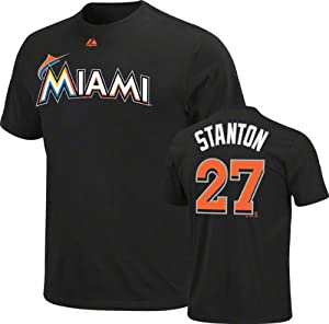 MLB Majestic Giancarlo Stanton Miami Marlins #27 Player T-Shirt - Black by Majestic