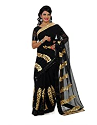 Designersareez Women Chiffon Embroidered Black Saree With Unstitched Blouse(1332)