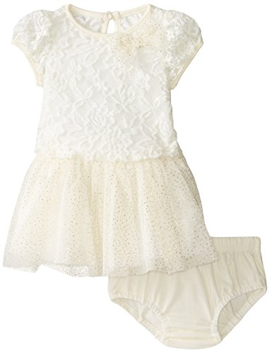 887847662093 - Nannette Baby-Girls Newborn Lace Dress with Printed Glitter Mesh Skirt Detail, Off-White, 6-9 Months carousel main 0