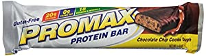 Promax Protein Bar, Chocolate Chip Cookie Dough, 2.64 Ounce,12-pack