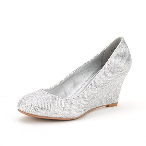 DREAM PAIRS WEDGY Women's Elegant Almond Toe Mid Heel Wedge Pumps Slip On Shoes SILVER SIZE 7.5