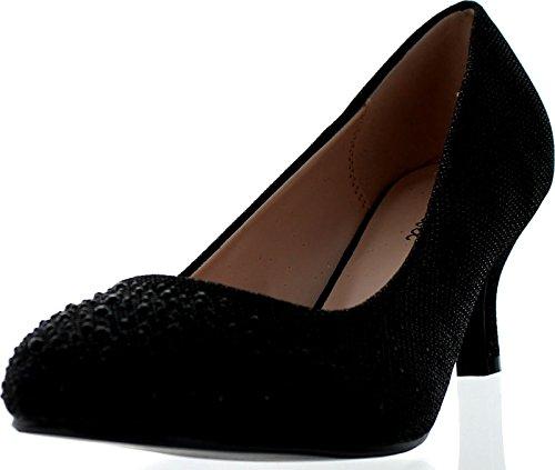 Bonnibel Wonda-1 Womens Round Toe Low Heel Glitter Slip On Dress Pumps,Black,6