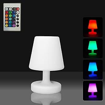 Mervy - Petite lampe de table led 25cm sans fil rechargeable télécommande 16 couleurs