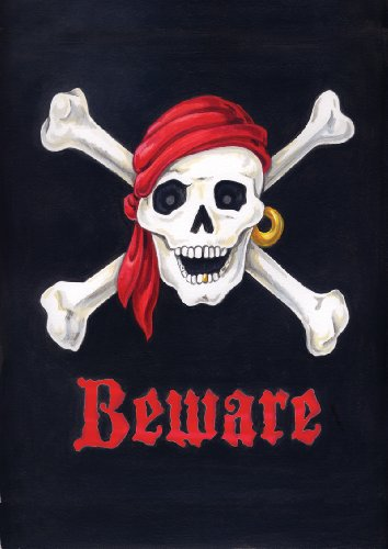 Toland Home Garden Beware Skull and Crossbones Garden Flag