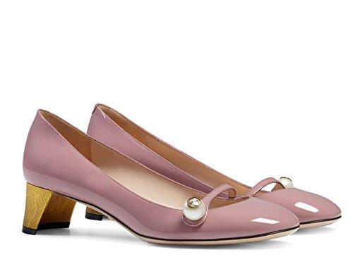 Décolleté Gucci in vernice rosa con bottoni madreperla - Codice modello: 408253 BNC00 5808 - Taglia: 41 IT
