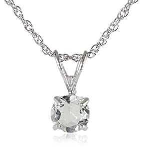 """Sterling Silver 6mm Round Green Amethyst Pendant Necklace with Light Rope Chain Necklace, 18"""""""