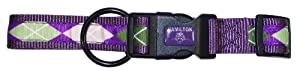 Hamilton Highland Collection Adjustable Dog Collar, 5/8-Inch by 12 to 18-Inch, Argyle/Plum