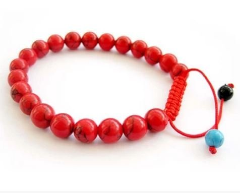 8MM korean pine stone fashion bracelets ,red string - 1