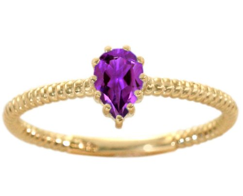 14K Yellow Gold Pear Gemstone Solitaire Stackable Ring-Amethyst, size5.5