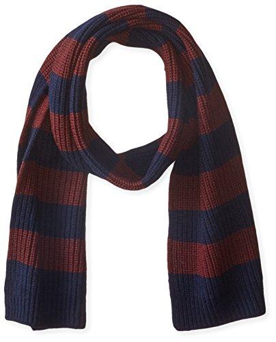 Cole Haan Men's Striped Half Cardigan Stitch Muffler, Blazer blue/port royale, One size