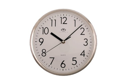 Silver Quartz Wall Clock w/ Quiet Sweep Second Hand - 10 Inch Round