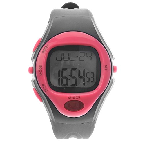 PIXNOR Waterproof Men Women Pulse Heart Rate Monitor Calorie Counter Sports Digital Watch (Rosy)