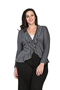 24/7 Comfort Apparel Women's Long Sleeve Tie Front Jacket,CF311P,2XL