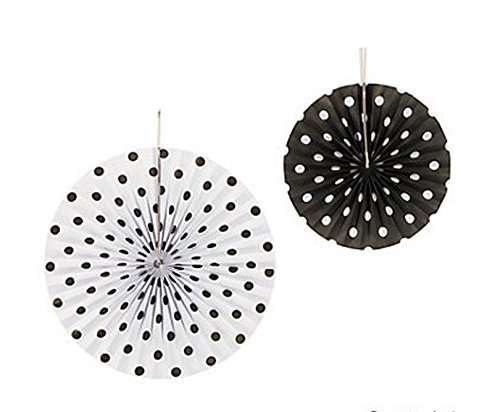 Set of 6 Black and White Polka Dot Hanging Fans
