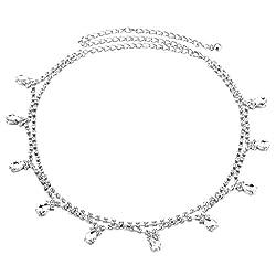 Phenovo Womens Ladies Silver Rhinestone Belt Waist Chain Diamante Diamonds Buckle