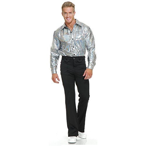 Silver Glitter Disco Shirt Adult Costume