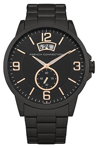 French connection hombre-reloj analógico de cuarzo de acero inoxidable FC1209BM