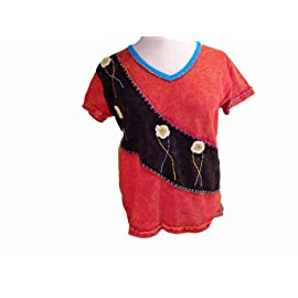 Bohemian Hippie Embroidered Patchwork T-shirt Handmade in Nepal Fair Trade