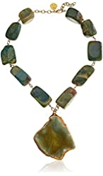Devon Leigh Green Agate with Green Agate in 24K Gold Foil Pendant Necklace