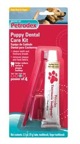 Petrodex Puppy Poultry Toothpaste Dental Care Kit, 2 Toothbrushes
